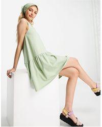 ASOS Vestito grembiule senza maniche con scollo a V color salvia - Verde