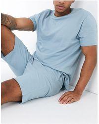 ASOS Lounge T-shirt And Short Pyjama Set - Blue