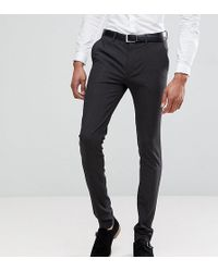 ASOS Tall Super Skinny Fit Suit Pants In Charcoal - Gray