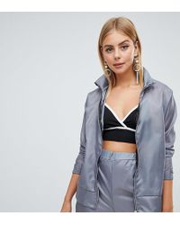 PrettyLittleThing Shell Suit Zip Up Jacket - Grey