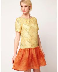 Nahm - Dress In Printed Silk With Collar Detail - Lyst