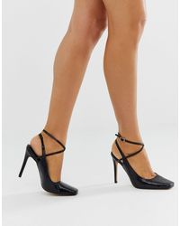 ASOS Priceless Square Toe Stiletto Heels - Black