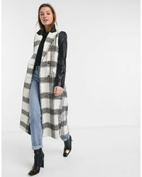 River Island Double Breasted Coat With Contrast Sleeves - Multicolour