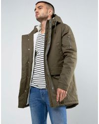 Bellfield - Borg Lined Parka With Fish Tail - Lyst