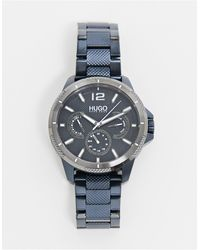 HUGO Мужские Часы С Темно-синим Ремешком-браслетом -темно-синий