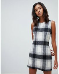 Jack Wills Wool Blend Check Shift Dress - Gray