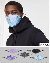 ASOS – 5er-Pack Unisex-Gesichtsmasken mit verstellbaren Bändern und biegsamem Nasenstück - Mehrfarbig