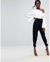 ASOS - Design High Waisted Denim Trousers With Cinch Hem - Lyst