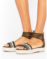 Missguided - Embroidered Ankle Flatform Sandal - Lyst