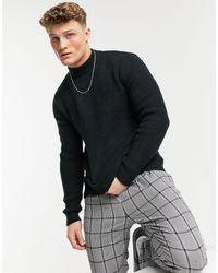 TOPMAN Fluffy Turtle Neck Knitted Jumper - Black