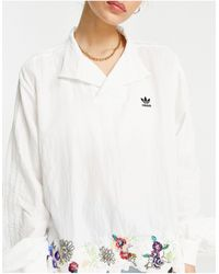 adidas Originals X Dry Clean Only Logo Shirt With Satin Collar - White