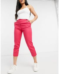 Oasis Compact Cotton Capri Trousers - Pink
