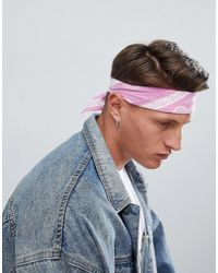 ASOS - Design Bandana In Pink With Bright Pink Design - Lyst