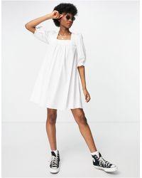 New Look Белое Поплиновое Платье Мини Со Сборками И Завязками На Спине -коричневый Цвет