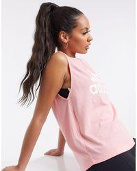 adidas Top de tirantes en rosa gloria y blanco Must Have Badge of Sport de