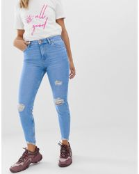 48c1cc886116 Bershka - Ripped Detail Skinny Jean In Blue - Lyst