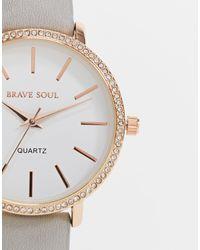Brave Soul Часы Со Стразами И Ремешком Из Искусственной Кожи -серый