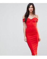ASOS - Scuba Strappy Bardot Pencil Midi Dress - Lyst