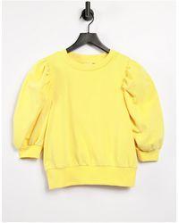 ONLY Sweatshirt With Volume Sleeve - Yellow
