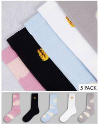 TOPMAN Tube Sock Cloud 5pk - Multicolour