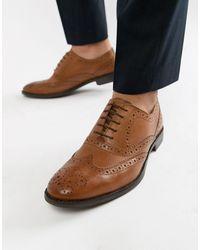 ASOS - Светло-коричневые Оксфордские Туфли-броги Из Кожи - Lyst