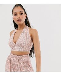 TFNC London Halter Neck Sequin Crop Top In Pink And Silver