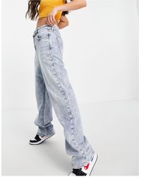 River Island 90's Straight Cut Acid Wash Jeans - Blue