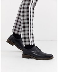 Red Tape Brogue Leather Lace Up Shoe - Black