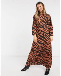 ASOS Maxi Long-sleeved Dress - Brown