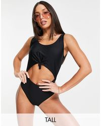 Missguided Cut Out Knot Front Swimsuit - Black