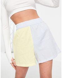 ASOS Seersucker Cotton Shorts - Multicolour