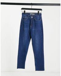 Brave Soul Fran High Waisted Mom Jeans - Blue