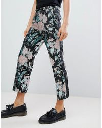 ASOS - Straight Crop Smart Trousers In Floral Jacquard - Lyst