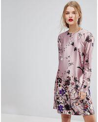 Y.A.S Floral Print Shift Mini Dress - Pink