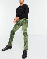 Twisted Tailor Атласные Брюки Скинни Цвета Хаки -зеленый