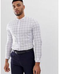 Overhemd Zonder Kraag.Only Sons Slim Fit Overhemd In Het Wit Voor Heren Lyst