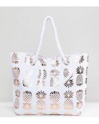 South Beach Rose Gold Pineapple Print Beach Bag - Metallic
