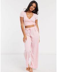 ASOS Mix En Match - Jersey Pyjamatop Met Overslag - Roze