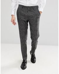ASOS - Slim Suit Trousers In Moons Wool Rich Monochrome Check - Lyst