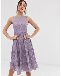 Little Mistress - Сиреневое Платье Миди С Кружевными Вставками -фиолетовый - Lyst