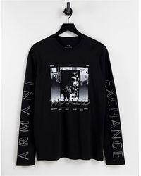 Armani Exchange T-shirt à manches longues avec imprimé graphique - Noir