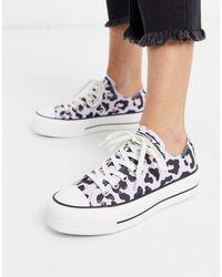 Converse Chuck Taylor Low Lift Platform Lilac Leopard Print Sneakers-purple - White