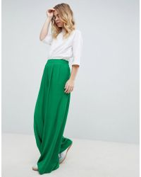 ASOS - Design Tailored Green Pop Wide Leg Trousers - Lyst