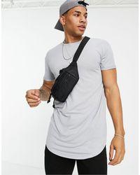 TOPMAN Camiseta gris larga ajustada