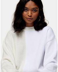 TOPSHOP - Spliced Jersey Knit Sweater - Lyst