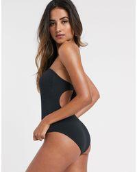 Warehouse Textured Bandeau Swimsuit - Black