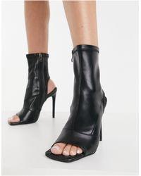 SIMMI Shoes Черные Ботильоны С Открытым Носком И Тканой Стелькой Simmi London-черный Цвет