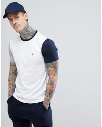 Original Penguin - Small Logo Slim Fit Colour Block T-shirt In White/grey/navy - Lyst