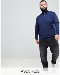 ASOS Plus Knitted Half Zip Sweater - Blue