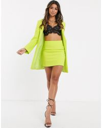 ASOS Suit Mini Skirt In Chartreuse - Yellow